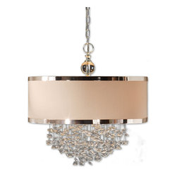Uttermost - Fascination 3-Light Silken Drum Pendant - For all you design fans who want a chandelier for your space and love to mix the traditional with the unconventional, this chandelier is fascination itself. Sophisticated and unusual, the free-falling crystals are suspended by delicate metal strands that seem to float from the drum-shaped, silver-trimmed shade.