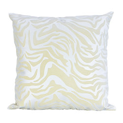 Bijou Coverings - Zebra-Pattern Faux-Leather Throw Pillow, Creme on Creme - The animal print woven faux leather pattern on this pillow creates a simple yet luxurious statement. This beautiful design would be a great accent on a side chair or couch mixed with a collection of contrasting patterns. The pillow is filled 100% polyester insert.