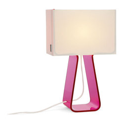 Pablo - Tube Top Lamp, Hot Pink - Step aside lava lamps: Colorful, candy-like, small table lamps are now the life of your party. A rainbow of base color choices and misty translucent shades create a fun and functional item that electrifies any room! How about a colorful bowl of jellybeans to round out the picture?