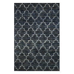 Loloi Rugs - Loloi Rugs Sahara Midnight Transitional Hand Knotted Rug X-686500DM70-JSAHAS - From the Sahara Collection, this Loloi Rugs floor rug starts with a contrasting color palette of midnight black and ivory, dotted with subtle blue and tan nuances. The contemporary pattern is hand knotted and the rug uses a blend of jute and wool materials, which add comfort and durability.