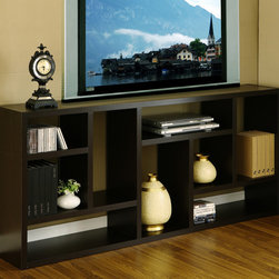 Furniture of America - Furniture of America Multi-Purpose 3-in-1 Display Cabinet/ TV Stand/ Bookcase - Clean up your home and save space with black satin finished wood veneer three-in-one display cabinet,TV stand,and bookcase. This modern piece of furniture has nine compartments that vary in width and length. It measures 71' x 31' x 11'.