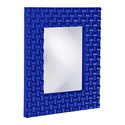 "Howard Elliott - Contemporary Howard Elliott Justin 22"" x 26"" Royal Blue Wall Mirror - Rectangular wall mirror. Glossy royal blue finish. Looped basket weave frame design. Resin construction. Mirror only is 12"" wide 16"" high. Hang weight is 12 pounds. Made to order. 22"" wide. 26"" high. 1"" deep.      Rectangular wall mirror.  Glossy royal blue finish.  Looped basket weave frame design.  Resin construction.  Mirror only is 12"" wide 16"" high.  Hang weight is 12 pounds.  Made to order.  22"" wide.  26"" high.  1"" deep."