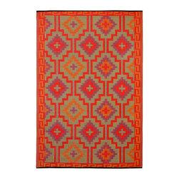 None - Prater Mills Indoor/ Outdoor Reversible Orange/ Purple Rug - This stylish reversible indoor/outdoor rug is the perfect way to inject a little color into your outdoor decor. Crafted from 100 percent recycled plastics and featuring an eye-catching geometric pattern, this rug is perfect for decks and patios.