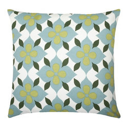 "Coco's Flower Cotton Pillow, Apple/Light Blue/Hunter Green - Modern and classic - the hallmark of the CocoCozy style.  This 100% cotton decorative pillow is sure to make a statement in any room. Each 20"" x 20"" pillow is custom made and manufactured in the United States with an invisible zipper and a knife edge finish.  Dry clean only."