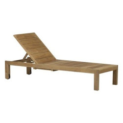 Regatta Chaise Lounge - Our eco-friendly Regatta teak lounge collection cuts a clean, classic profile in a bold wide-slat design. Relax in a generous four-position chaise lounge with convenient back wheels and the innovation of two pullout trays concealed beneath. Each piece is handcrafted of solid teak certified by the Forest Stewardship Council (FSC), a nonprofit organization that encourages responsible management of the world's forests. We recommend allowing the unfinished teak to weather to a silvery grey. To maintain the natural color, use our Golden Care® Teak Protector. Cushion is fade- and mildew-resistant Sunbrella acrylic in a pop of white sand. Regatta dining collection also available.