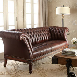 """Old Hickory Tannery - Old Hickory Tannery """"Lariette"""" Tufted Leather Sofa - Tightly tufted leather sofa provides a distinguished look for the living or media room or even a large office. Made in the USA. Handcrafted frame is made of maple wood covered in tufted leather. Legs and apron have a hand-distressed French dark cherry..."""