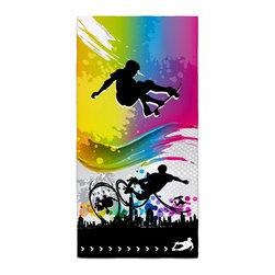 "Eco Friendly ""Skate City"" Skateboard Bath Towel - Our Skateboard Bath/Beach Towels are made of a super soft poly fiber fabric with 2mm pile."
