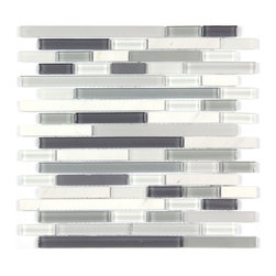Stone & Co - Stone & Co Mosaic Glass and Stone blend Random Strip 12 x 12 Mosaic Tile Mag-001 - Finish: Polished / Matt/ Shiny