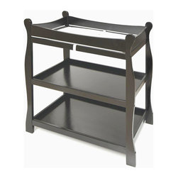 Badger Basket - Black Sleigh Style Changing Table - Our Sleigh Style tables were completely redesigned in 2004! The changing table features two nicely sized shelves and ample room on top for changing diapers or dressing your baby. Safety rails enclose all four sides around the top of the table and the metal support bar beneath the changing surface provides additional stability. Also includes a changing pad and safety strap. It can be used with children weighing up to 30 lbs. (13.6 kg).