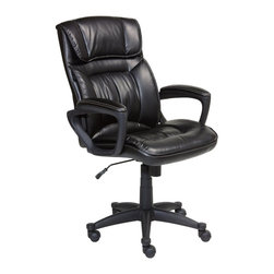 Serta by True Innovations - Serta Office Chair in Puresoft Smooth Black Faux Leather - Serta by True Innovations - Office Chairs - 43505 - About This Product: