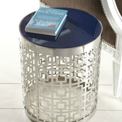 """Nixon"" Side Table - The perforated nickel with a reversible blue/white top gives this Jonathan Adler side table extra ambiance."