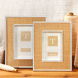 Woven Inlay Steel Frames - Set of 2 - Simply chic and adaptable to so many styles of d�cor, the Woven Inlay Steel Frames marry natural woven fabric with a gorgeous silver frame, inspiring a classic look that could easily transform into a more transitional or beachy accessory for any room.  Insert your treasured memories in this duo of accents and perch them on a shelf or desk for guests to look upon. Simple, elegant and beautiful.