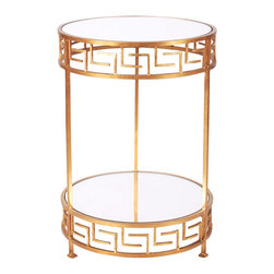 Kathy Kuo Home - Christos Hollywood Regency Gold Mirror Greek Side Table - Twin circular shelves sparkle in clear glass, surrounded by circumferences of silver Greek keys. A slim silhouette fits in any small space, adding a modern element to your surroundings. Three delicate legs lend stylish support to this sleek side table.