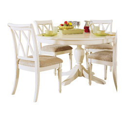 American Drew - American Drew Camden-Light 7 Piece Round Dining Room Set in White Painted - The Camden-Light Collection melds simple forms with quiet traditional references, gentle curves and a beautiful time worn ivory finish that lets the character of the wood show through. The brushed nickel finish hardware adds even more character to the Camden collection. This line will work great in your renovated farm house or a smaller beach cottage get-away.