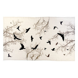 """Huddleson - Crow Natural Linen Tablecloth, 66""""x126"""" - Stunning natural linen tablecloth with crows circling against silhouetted branches"""