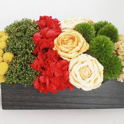 Dried Flower Arrangement by Flores del Sol - Add rich, beautiful color to your mantel with a dried flower arrangement that will last through the season.
