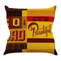 """Kess InHouse - Roberlan """"So Bad It's Beautiful"""" Red Orange Throw Pillow (16"""" x 16"""") - Rest among the art you love. Transform your hang out room into a hip gallery, that's also comfortable. With this pillow you can create an environment that reflects your unique style. It's amazing what a throw pillow can do to complete a room. (Kess InHouse is not responsible for pillow fighting that may occur as the result of creative stimulation)."""