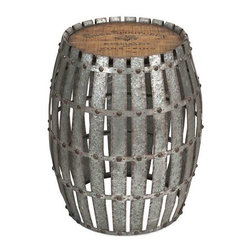 Gibbs Wood and Metal Barrel - You will love the Gibbs wood and metal barrel! Constructed of galvanized, riveted metal strips with a wooden top bearing a vintage wine logo, it will lend character when used as a side table.