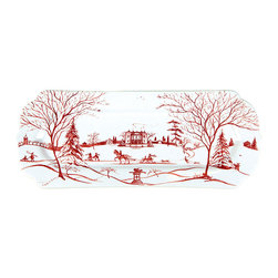 "Country Estate Winter Frolic Hostess Tray - 15"" - Sleds, sleighs, and skates draw rose-red paths across this festive serving or display piece, the Country Estate Winter Frolic Hostess Tray. A design packed with charm presents a graceful, updated homage to traditional transferware, while the wintry themes and colorful red-and-white tones make festive touches of the season an easy delight."