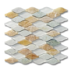 Iota Mossy Aura Glass and Marble Tile - Never out of your depth. You may be somewhat intimidated by tilework, but this simple design adds a dimension of uncommon artistry not to be found elsewhere. The combination of glass and marble tiles gives your wall a depth that will always make your room (and by extension, you) look pretty good.