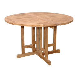 Anderson Teak - Butterfly 47 in. Round Folding Table - Unfinished - Enjoy the beauty of teak with the convenience of folding for storage.  Round top tables are roomy for up to four and feature brass hardware that is equally resistant to weather conditions.  Beautifully styled with a four-pronged base and umbrella hole. * Can be fold half round, fold completely or open in full round size. Round in shape. Solid Teak wood construction. Perfect for boating, restaurant and café. 47 in. Dia. x 29 in. H (50 lbs.)This Butterfly Folding Table features of 47 in. round is very convenience and practical for any occasion. It is perfect for boating, restaurant and café where space is limited or the chairs are only required occasionally.