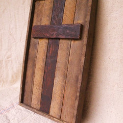 Christian cross vintage wall hanging made of reclaimed old wood - This Christian cross wall hanging displays rustic charm and country history. The characteristics of the wood- including the patina of age- are very unique and can not be reproduced.