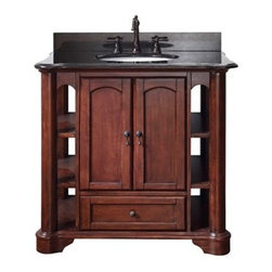 """Avanity - Avanity Vermont 37"""" Single Bathroom Vanity - Mahogany - Available in multiple sizes. Features Poplar solid wood and veneer in Mahogany finish Antique brass finished hardware Two soft close doors One soft close drawer Available solid natural black granite stone top and backsplash Top pre-drilled for 8"""" widespread faucet Available white porcelain undermount sink Adjustable height levelers Optional matching mirror Faucet not included How to handle your counter How to handle your counterView Spec Sheet Natural stone like marble and granite, while otherwise durable, are vulnerable to staining from hair dye, ink, tea, coffee, oily materials such as hand cream or milk, and can be etched by acidic substances such as alcohol and soft drinks. Please protect your countertop and/or sink by avoiding contact with these substances. For more information, please review our """"Marble & Granite Care"""" guide."""