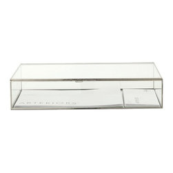 Arteriors - Jedd Document Box, Large - Rectangular glass display document box with polished nickel borders and hinges.