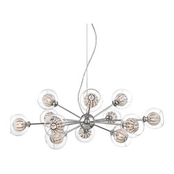 """Possini Euro Design - Contemporary Possini Euro Onida 31 3/4"""" Wide Clear Crystal Glass Pendant - Full of contemporary style this chic pendant light is a great way to add gleaming shine to your home. A striking chrome finish adorns this design while twelve clear glass orbs with inner crystal beaded globes provide added radiance when illuminated. From the Onida Collection. Chrome finish. Clear outer glass orbs. Inner beaded crystal globes. Includes twelve 40 watt G9 halogen bulbs. Includes 10 feet of wire and cord. 31 3/4"""" wide. 15"""" high. Canopy is 4 3/4"""" wide. Hang weight is 5.5 lbs.  Chrome finish.  Clear outer glass orbs.  Inner beaded crystal globes.  Use this large chandelier in a foyer or dining room.  Includes twelve 40 watt G9 halogen bulbs.  Includes 10 feet of wire and cord.  31 3/4"""" wide.    15"""" high.   Canopy is 4 3/4"""" wide.   Hang weight is 5.5 lbs."""
