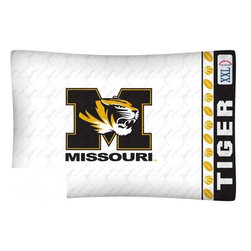 Sports Coverage - NCAA Missouri Tigers Microfiber Pillow Case - Officially licensed NCAA Missouri Tigers Microfiber coordinating pillow case to match Comforters, Pillow sham, Bedskirts and Draperies. The Pillowcase only has a white-on-white print and the officially licensed team name and logo printed in team colors. Made from 92 gsm microfiber for extra stability and soothing texture and is 100% Polyester. Wrinkle resistant and stain-resistant. Get your NCAA Pillow Case Today.   Features:  -  92 gsm Microfiber,   - 100% Polyester,    - Machine wash in cold water with light colors,    -  Use gentle cycle and no bleach,   -  Tumble-dry,   - Do not iron,   - Pillow case Standard - 21 x 30,