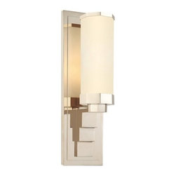"Sonneman - Sonneman Scala Wall Sconce - The Scala Wall Sconce Wall Sconce by Sonneman has been designed by Robert Sonneman. The opulence and precise geometry of Art Deco design is displayed to great effect in the Sonneman Scala Wall Sconce. The opal etched glass shade is an octagonal-shaped cylinder held within a similarly shaped holder. The holder, in turn, is held up and away from the wall plate by a stepped extension.   Product description:  The Scala Wall Sconce Wall Sconce by Sonneman has been designed by Robert Sonneman. The opulence and precise geometry of Art Deco design is displayed to great effect in the Sonneman Scala Wall Sconce. The opal etched glass shade is an octagonal-shaped cylinder held within a similarly shaped holder. The holder, in turn, is held up and away from the wall plate by a stepped extension   Details:      Manufacturer:     Sonneman         Designer:    Robert Sonneman        Made in:    USA        Dimensions:     Shade:Diameter:4"" (10.16 cm) X Height:9"" (22.86 cm) Wall Plate:Width:4.5"" (11.43 cm) X Height:15"" (38.1 cm)        Light bulb:     1 X A19 Medium Base Max 75W (not included )        Material:     Metal,Glass"