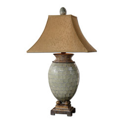 Blue Green Mosaic Tile Table Lamp - *Pale blue green mosaic tiles with heavily burnished chestnut brown details.
