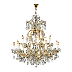 "Kolarz - Top quality from Vienna - Kolarz - Top quality from Vienna Maria Theresia C436 chandelier - Maria Theresia C436 chandelier is part of a collection of High End light fixtures made in Vienna, Austria by Kolarz. This light series is designed by artistique minds using the finest materials, metal and crystal, beeing a unique creation and fashioned to reflect individual personality and lifestyle. Maria Theresia is available in three sizes with finishes in 24k gold. Its body comes in metal arms covered with glass crystal and ending with details in Spectra Swarovski crystals. This exquisite chandelier is based on a special project not a product of a series production. Combining its distinctive design with the highest quality of its materials the hanging light is a luxury path for both commercial and residential interiors. Illumination is provided by E14, 40W Incandescent bulb (not included).      Product Details: Maria Theresia C436  chandelier   is part of a collection of High End light fixtures made in Vienna, Austria by Kolarz. This light series is designed by artistique minds using the finest materials, metal and crystal, beeing a unique creation and fashioned to reflect individual personality and lifestyle. Maria Theresia is available in  three sizes with finishes in 24k gold.  Its body comes in metal arms  covered with glass crystal and ending with details in Spectra Swarovski crystals. This exquisite chandelier is based on a special project not a product of a series production. Combining its distinctive design with the highest quality of its materials the hanging light is a luxury path for both commercial and residential interiors. Illumination is provided by E14, 40W Incandescent bulb (not included). Details:                         Manufacturer:            Kolarz                            Designer:            Kolarz                            Made in:            Austria                            Dimensions:                        Small: C436.815: Diameter: 33.5""(85cm) X Height: 38.6""(98cm)             Medium: C436.818: Diameter: 43.3""(110cm) X Height: 39.4""(100cm)             Large: C436.824: Diameter: 47.2""(120cm) X Height: 43.3""(110cm)                                         Light bulb:                        Small: C436.815: E14, 15x40W Incandescent bulb (not included)             Medium: C436.818: E14, 18x40W Incandescent bulb (not included)             Large: C436.824: E14, 24x40W Incandescent bulb (not included)                                         Material:            Metal, Crystal"