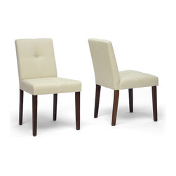 Wholesale Interiors - Glen Cream Woven Fabric Chairs, Set of 2 - It is easy to find a place to relax and dine in both comfort and style when these padded dining chairs are a part of your dining space. The entire seating area, both on the front and back, is lightly padded and upholstered in a universally-complemented neutral cream woven fabric. The legs are wooden with a medium-stained walnut veneer finish.