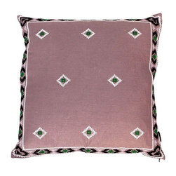 Pre-owned Purple & Green Mexican Embroidered Pillow - A sweet pillow that has been hand-embroidered on linen in a Mexican pattern. 95/5 Feather/Down fill. Hand wash or dry clean. Made in Vietnam. This pop of purple will scream boho chic tossed on a vintage leather chair.