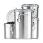 Anchor Hocking - Stainless Steel Canister Set 4 Pc. - Anchor Hocking 24954 4-Piece stainless Clamp Canister Set w/Clear Lid. Window Box allows you to see when you need to re-stock