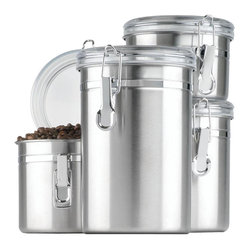 Anchor Hocking - Stainless Steel Canister Set 4pc - Anchor Hocking 24954 4-Piece Stainless Clamp Canister Set w/Clear Lid. Window Box allows you to see when you need to re-stock