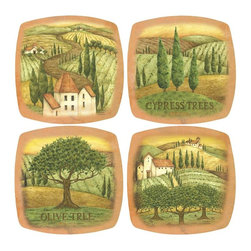 Thirsty Stone - Tuscany Appetizer Set - Set includes 4 pcs. appetizer plates. Rubber gasket on bottom keeps plate in place. Fits most wine and drinking glasses. Made of Porcelain. Dishwasher safe. No assembly required. 6.25 in. L x 6.25 in. W (2 lbs.)