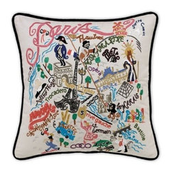 CATSTUDIO - Paris Pillow by Catstudio - These pillows from Catstudio's Geography Collection are delightful keepsakes for remembering the hometown you grew up in or commemorating your favorite vacation spot. Embroidered entirely by hand (over 35 hours go into each one!) with black velvet piping, these make the perfect gift for all occasions! Removable cotton cover and polyfill pillow form. Cover is dry clean only.