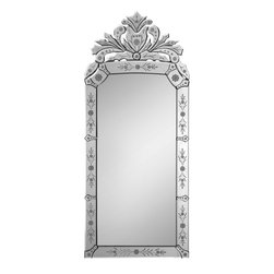 Ren-Wil - Ren-Wil MT1020 Portrait Mirror in All Glass - This elegant Venetian mirror is a classic design with beautiful etched details an intricate crown.
