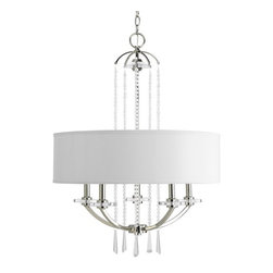 Thomasville Lighting by Progress Nissé 5-Light Large Pendant/Chandelier - I'm in love with this simple yet glamorous chandelier. The clean lines of the drum shade accented with crystal beading are so beautiful.