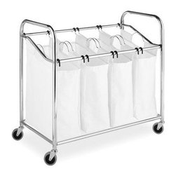 "Whitmor - Laundry Sorter 4 Section Chrom - Whitmor 4 Section Laundry Sorter - Dimensions: 20"" x 36"" x 33"" - Easy assembly.  4 removable 100% cotton canvas bags with handles for easy portability.  Heavy duty wheels.  Durable chromed metal frame.  This item cannot be shipped to APO/FPO addresses. Please accept our apologies."