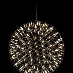 Moooi - Moooi Raimond Suspension Lamp - The Raimond Suspension Lamp has been designed by Raimond Dome and made by Moooi. This light makes for the perfect reading or dining lamp because it has a powerful lamp right at the centre of its dome-shaped network of twinkling LED lights. This light comes in 6 sizes. R43, R61, R89, R127, R163 and R199         Product Details: The Raimond Suspension Lamp has been designed by Raimond Dome and made by Moooi. This light makes for the perfect reading or dining lamp because it has a powerful lamp right at the centre of its dome-shaped network of twinkling LED lights. This light comes in 6 sizes. R43, R61, R89, R127, R163 and R199   Details:                         Manufacturer:            Moooi                            Designer:            Raimond Dome                            Made in:            Amsterdam                            Dimensions:                                         Light bulb:            R127: 492, power consumption 46W (36lm/W) R163: 812, power consumption 70W (36lm/W) R199: 1212, power consumption 100W (41lm/W)                            Material:            Stainless steel and PMMA