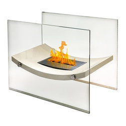 Anywhere Fireplace - Anywhere Fireplace Broadway Free Standing Bio-Ethanol Fireplace - The Anywhere Fireplace Broadway Free Standing Fireplace has gracefully curved body that will add a distinctive focal point to any room in which you choose to place it and will work with any decor. This unit combines the sophisticated elegance of beige lacquer and glass fireplace with all the benefits of a bio-ethanol fireplace-no installation, clean burning, ventless, needs no chimney, gas or electric hook-up. You may use it safely indoors or outdoors, just be sure to either cover it or bring the burner inside so water does not get into it if you choose to use it outdoors. Place it on the floor and its beautiful dancing flames you will create the perfect ambiance.