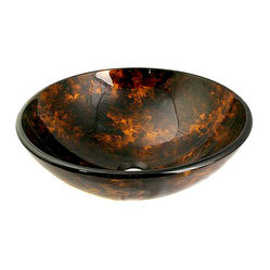 Glass Amber/ Black Bathroom Sink