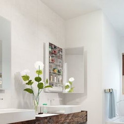 Medicine Cabinet Options from Electric Mirror - Seamless Mirrored Cabinet side view - Electric Mirror - Valley Light Gallery