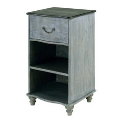Currey & Co - Currey & Co 3102 Whitemore Burnt Coal Nightstand - The Currey & Co 3102 Whitemore Burnt Coal Nightstand makes a subtle, calm addition to any bedroom. This vintage-inspired, solid wood piece includes two shelves and a pull-out drawer for extra storage. Your phone, alarm clock, favorite book, and a glass of water can all have a home on this 17 inch by 32 inch nightstand. Don't pass up this lovely piece - enhance your bedroom set today!
