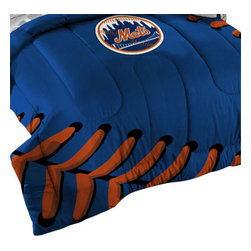 The Northwest Company - MLB New York Mets Baseball Laces Twin-Full Bed Comforter Set - Features: