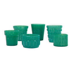 Turquoise Tea Light Holders - The color of these tealight holders is perfect! I would love the entire collection. It also reminds me of my birthstone, emerald.