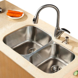 Kraus - Kraus 32 inch Undermount Double Bowl Stainless Steel Sink Combo Set - Add an elegant touch to your kitchen with unique Kraus kitchen combo